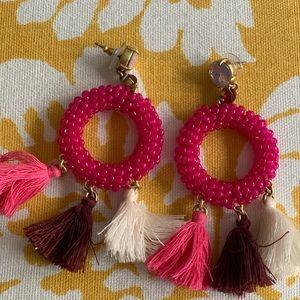 Pink Hoop Earring with Tassles!